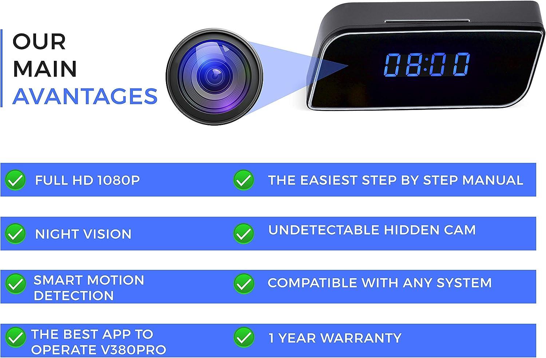 ghdonat.com Spy Camera Clock WiFi Hidden Nanny Cam 1080p with ...
