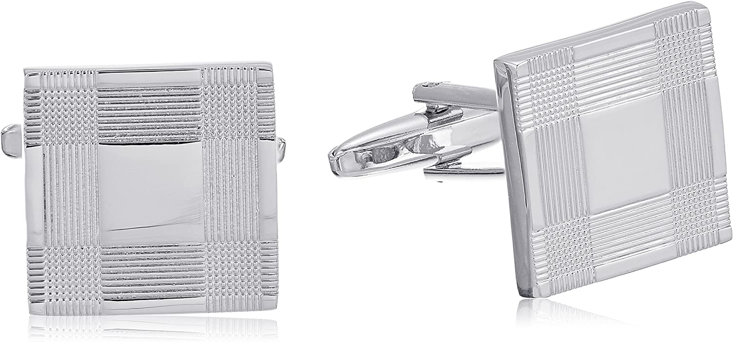 Stacy Adams Men's Silver Square Cuff Link, One size