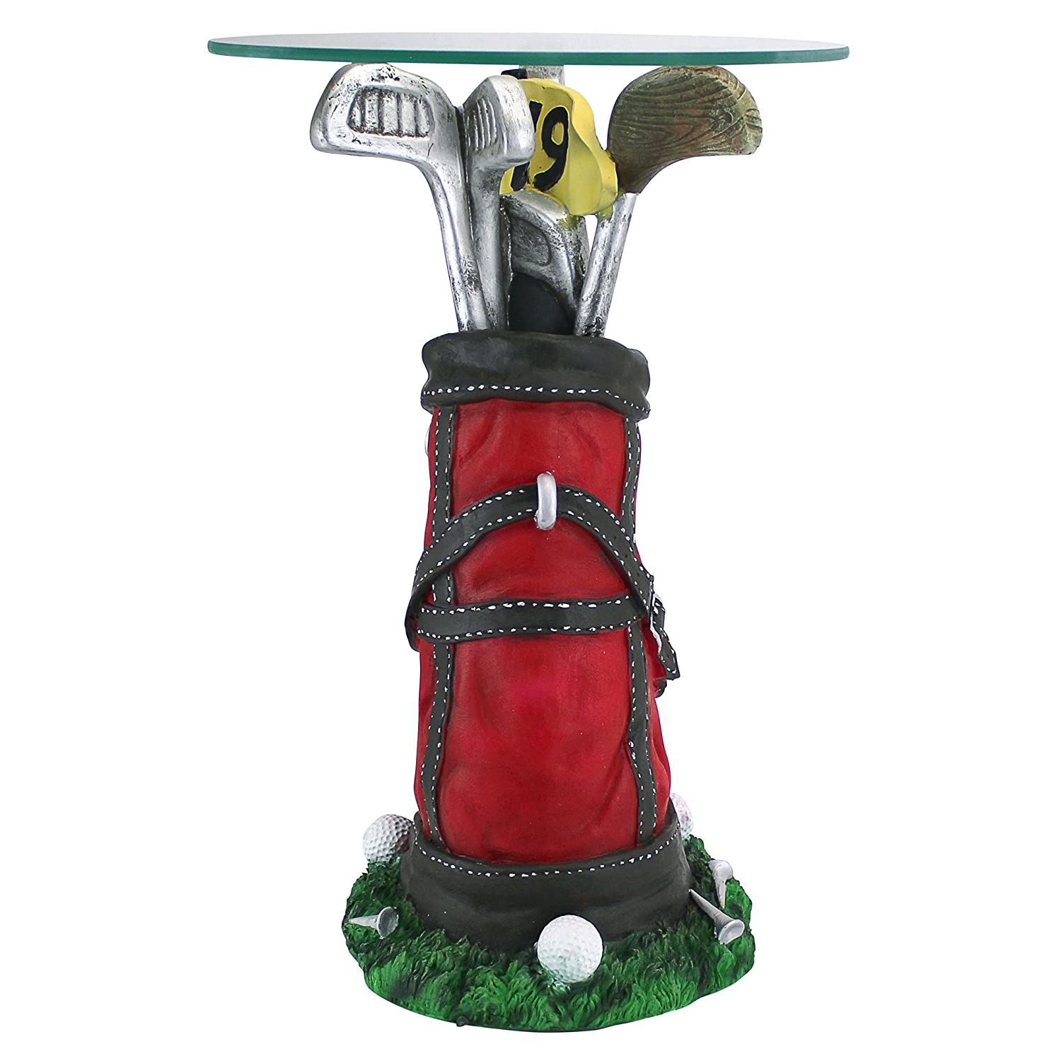 Design Toscano On Par Golf Bag Sculptural Glass-Topped Table