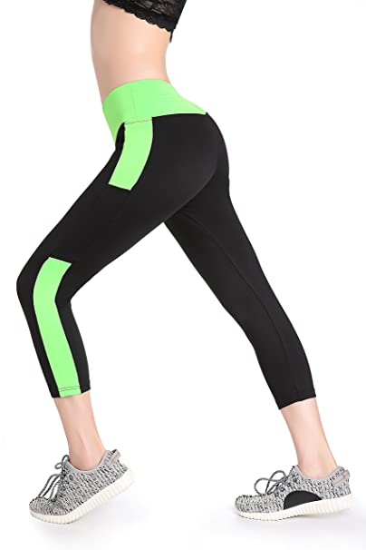 Annjoli Womens Workout Yoga Capris Pants Leggings Exercise Workout Pants