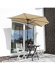 Sekey® semicircular sombrilla Parasol para terraza jardín Playa Piscina Patio diámetro 270 cm Protector Solar