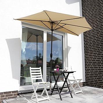 sekey outdoor 2 7m demi parasol en acier parasol une verriere 100 polyester taupe