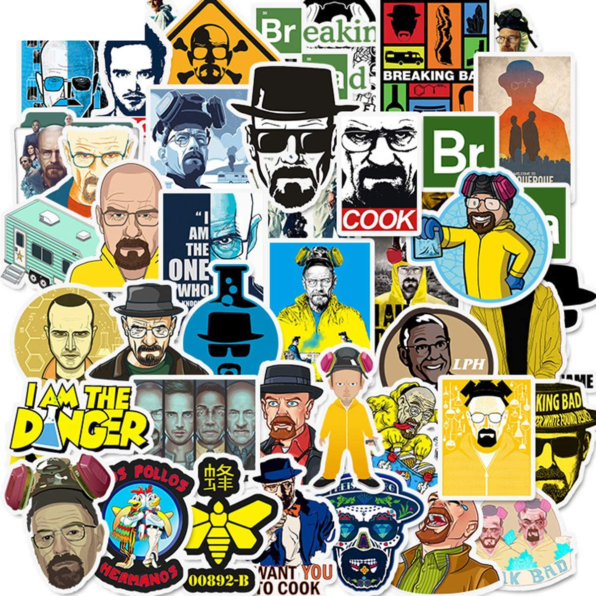 Breaking Bad TV Show Merchandise Stickers Pack of 50 Stickers-Funny Quote Waterproof Vinyl Stickers for Laptop Water Bottles Phone Notebook Computers Guitar Bike Helmet Car-Interesting Gift