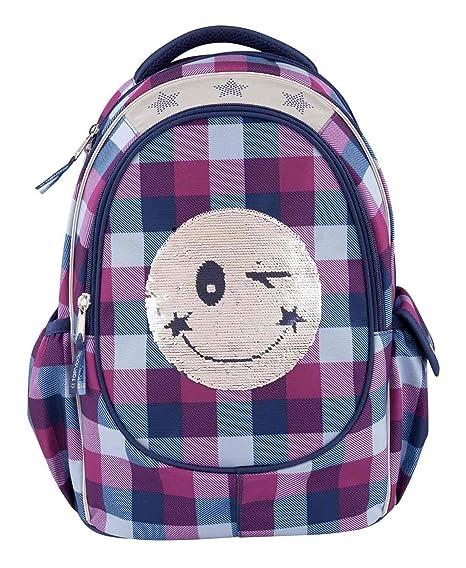 Depesche 10208 Mochila Escolar TOPModel Smiley con Lentejuelas, Color Azul