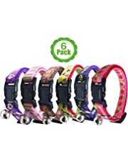 Bemix Pets Cat Collar with Bell, Set of 6, Solid Cat Collar, Made of Nylon, Available, for Small Dogs