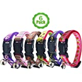Cat Collar with Bell, Set of 6, Solid Cat Collar, Made of Nylon, Many Designs Available, for Small Dogs, By Bemix Pets