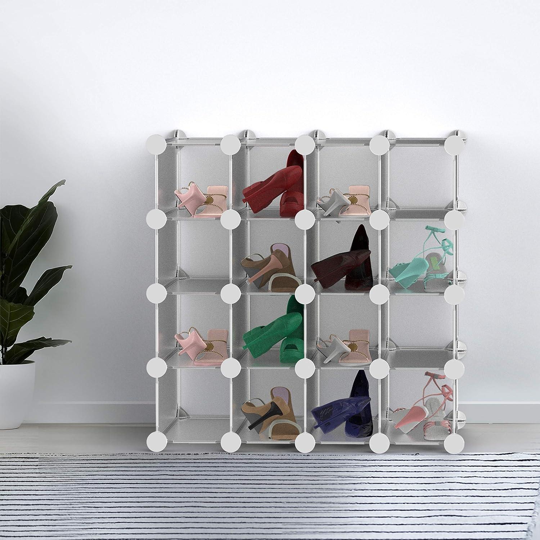 Lavish Home 16 Piece Interlocking Cubby – Customizable and Stackable Modular Plastic Shoe Organizer Shelf and Closet Storage Bin System