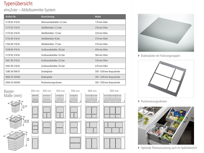 152 x 229 x 311 mm colour gris Ronin furniture fittings NINKA cubo de la basura eins2vier 8 litros dimensiones