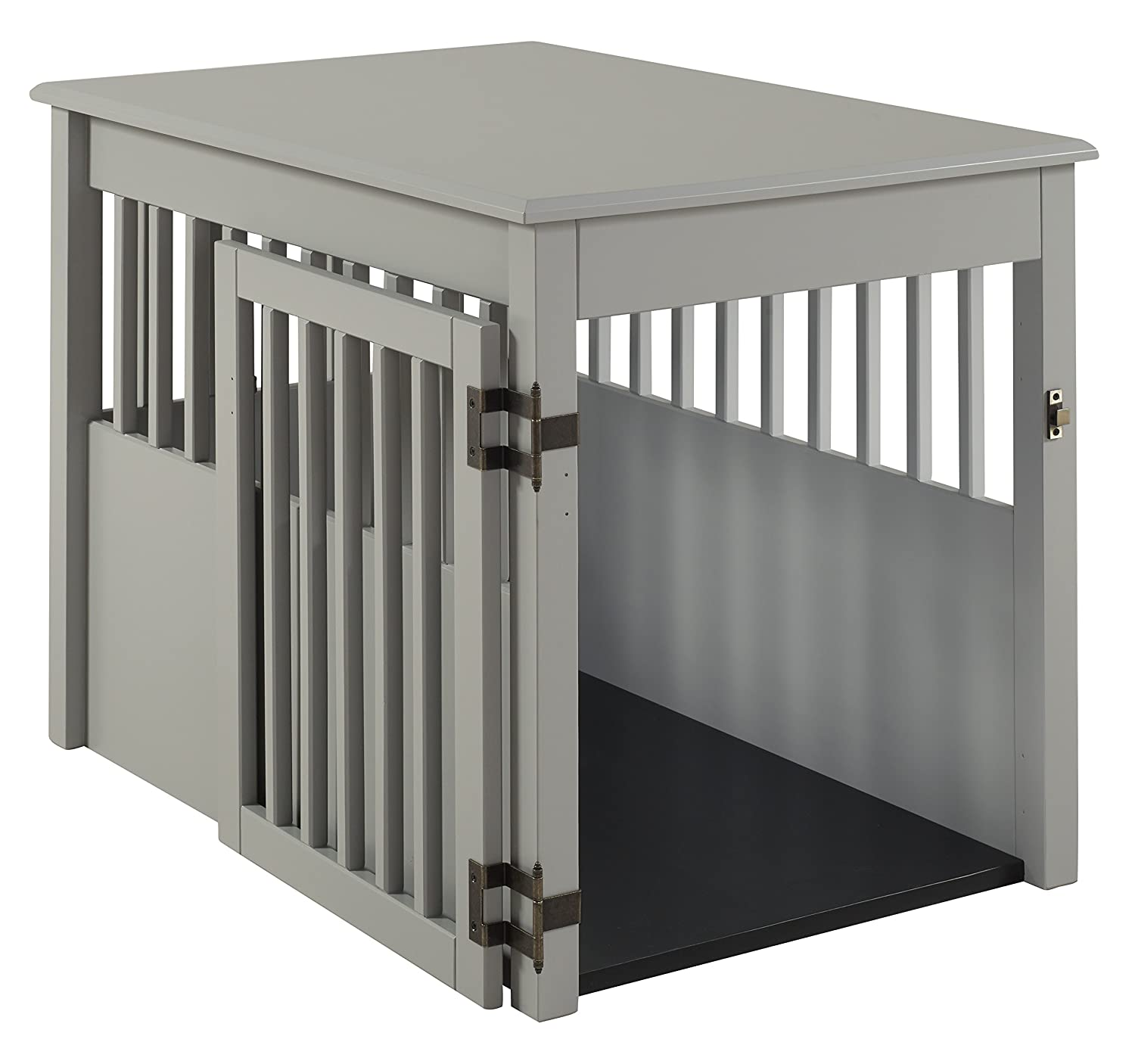 BarkWood Large Pet Crate End Table Grey Finish