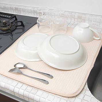 Amazon|mikketa 水切りマット キッチン 食器 大判 速乾 吸水 ベージュ ...