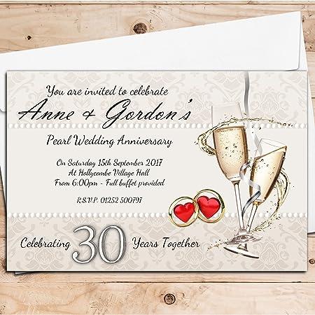 10 personalised 30th pearl wedding anniversary invitations invites 10 personalised 30th pearl wedding anniversary invitations invites n16 stopboris Images