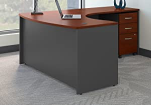 Bush Business Furniture Series C Right Handed L Shaped Desk with Mobile File Cabinet in Hansen Cherry