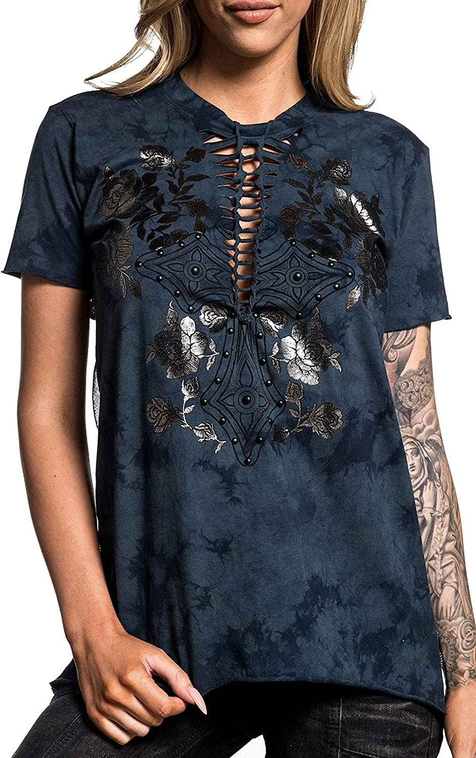 Affliction Bella Short Sleeve Fashion Graphic T-shirt Top for Women