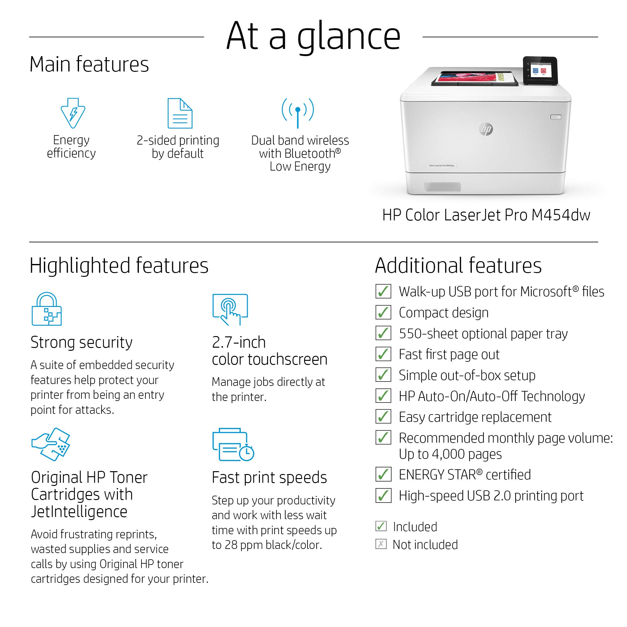 HP Color LaserJet Pro M454dw Printer (W1Y45A) by HP (Image #4)