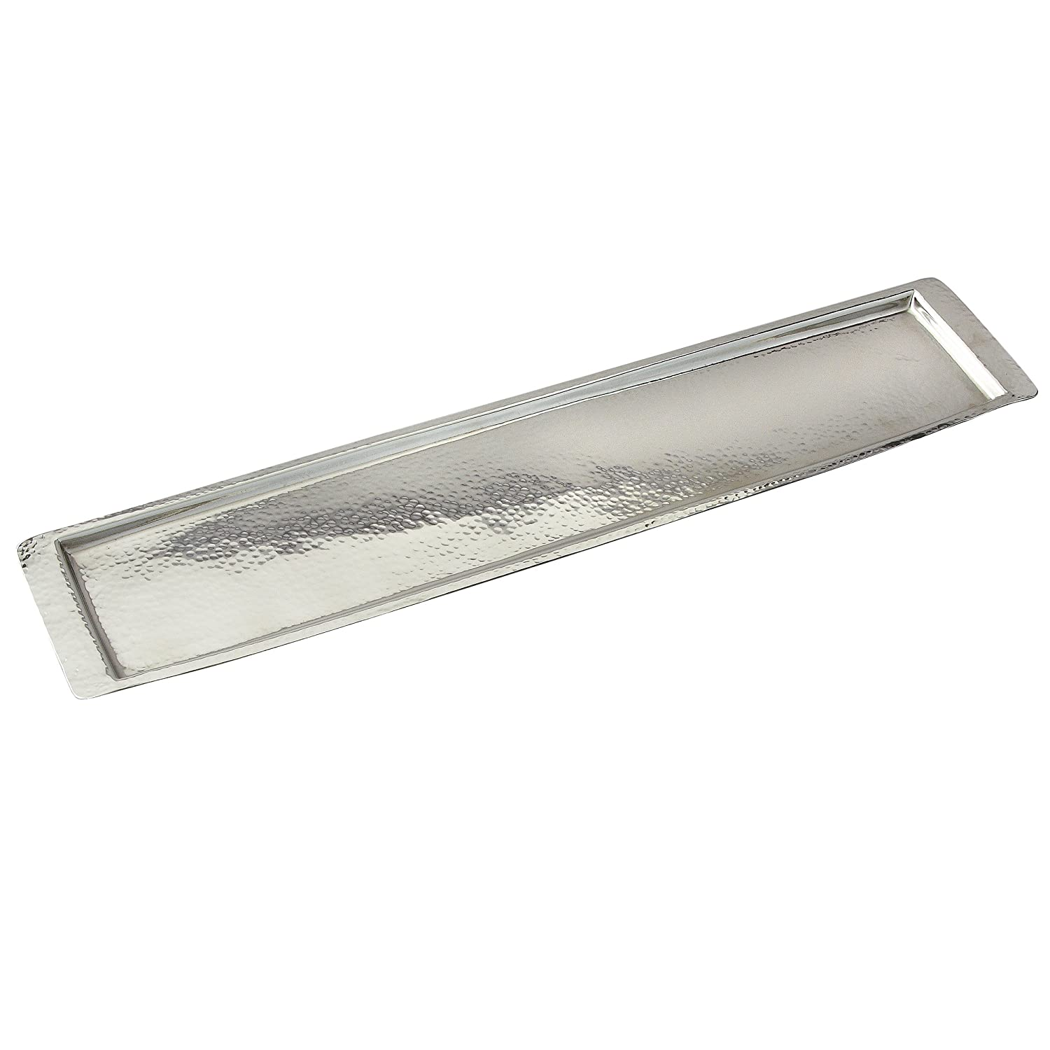 Small Elegance Stainless Steel Hammered Rectangular Tray Silver Leeber Limited USA 72374 13.75 by 4.5-Inch