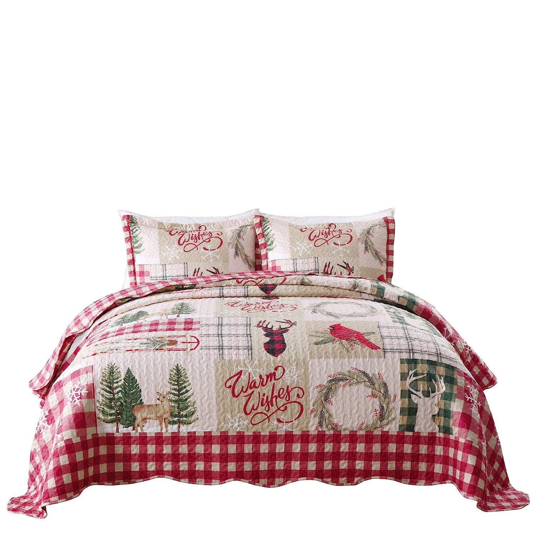 TT LINENS 3 Piece Rustic Lodge Deer Quilt Christmas Quilt Quilted Bedspread Printed Quilt Quilt Set Bedding Throw Blanket Coverlet Lightweight Bedspread Ensemble//Snowman Quilt King