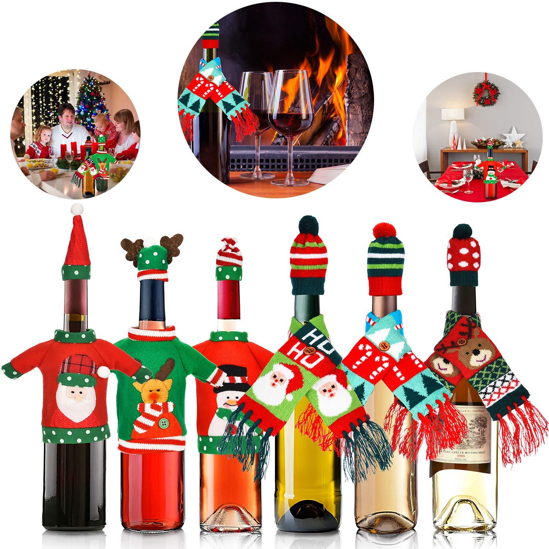 12 Pezzi Natale Porta Bottiglia Brutto Maglione Porta Vino Sciarpa Cappello Bottiglia Decor per Natale Festa Tavolo Decorazioni Tatuo
