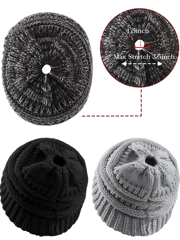 3 Piezas de Gorro de Invierno de Mujer Gorra de Mo/ño Alto Estirable Sombrero de Punto de Cola de Caballo con Agujero para Accesorio de Fiesta Diario