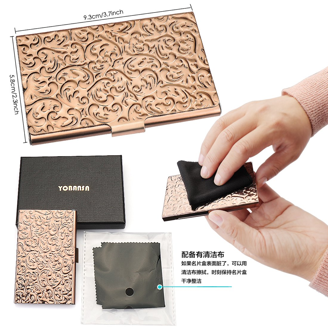 Amazon Com Yobansa Stainless Steel Rose Gold Business Card Holder