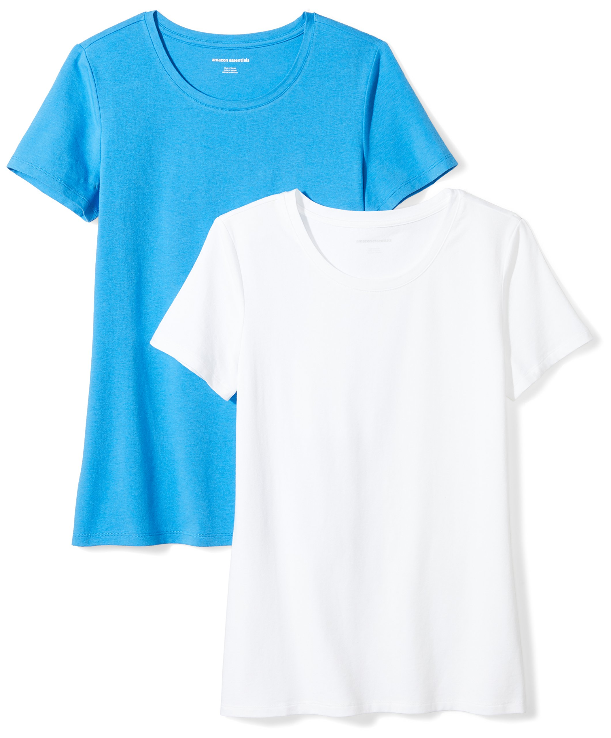 Amazon Essentials Women's 2-Pack Short-Sleeve Crewneck Solid T-Shirt, Bright Blue/White, Medium