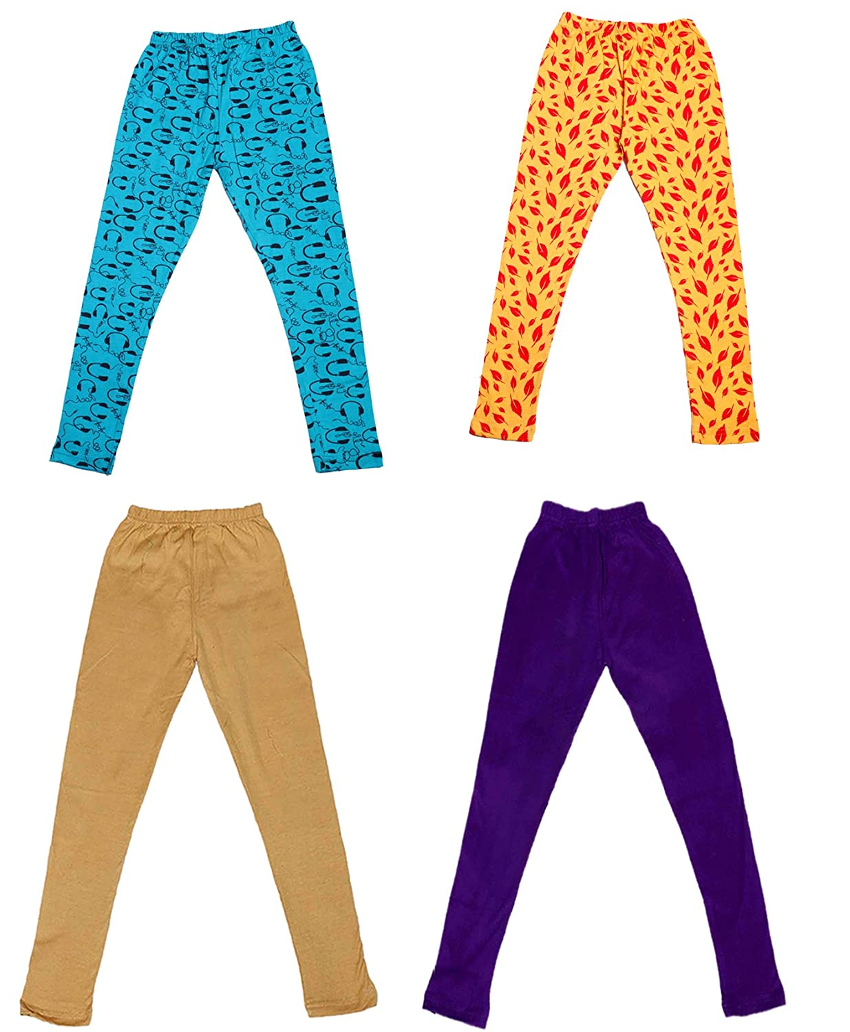 and 2 Cotton Printed Legging Pants Indistar Girls 2 Cotton Solid Legging Pants Pack Of 4 /_Multicolor/_Size-13-14 Years/_71401021718-IW-P4-36