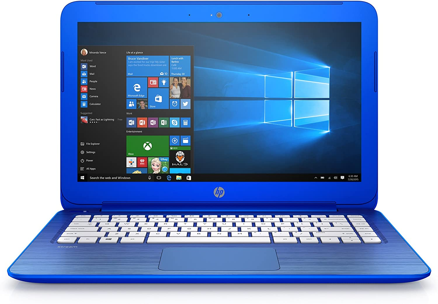 "2016 HP Stream 13.3"" HD Laptop - Intel Dual-Core N3050 up to 2.16GHz, 2GB RAM, 32GB eMMC, 1-yr Office 365 Included, DTS Studio Sound, WLAN, Bluetooth, Webcam, Windows 10"