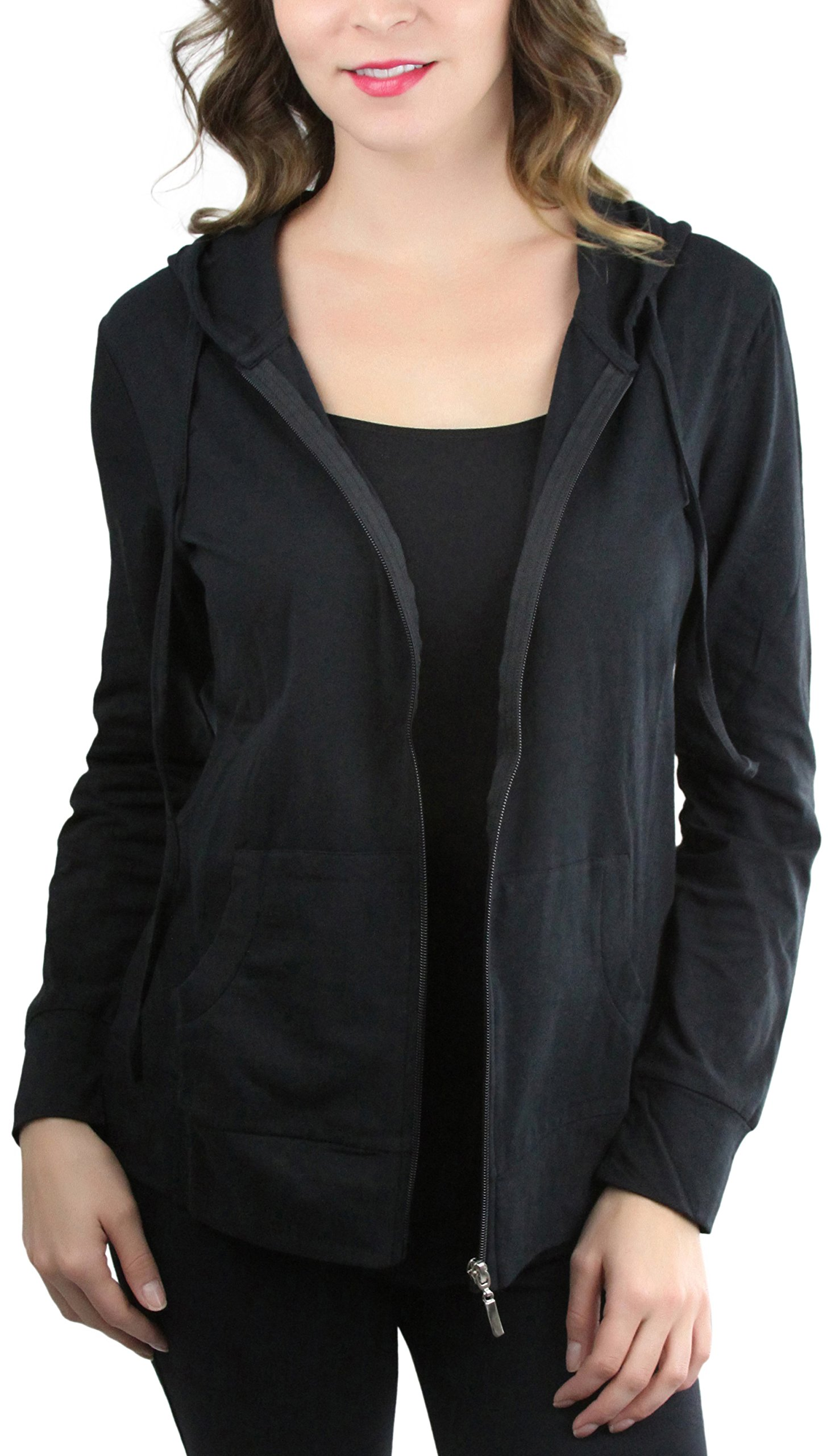 ToBeInStyle Women's Thin Fabric L.S. Zip up Hoodie - Black - Small