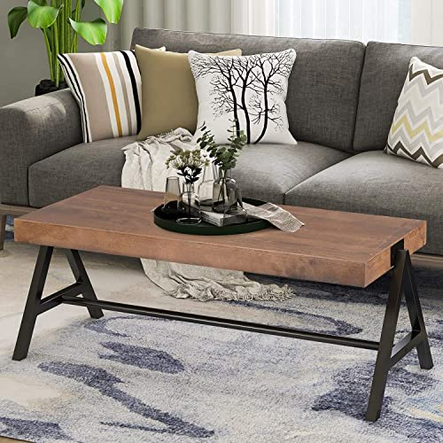 P PURLOVE Rustic Rectangle Coffee Table 43 Inch Wood Coffee Table Easy Assemble Rectangle Coffee Table for Living Room,Brown