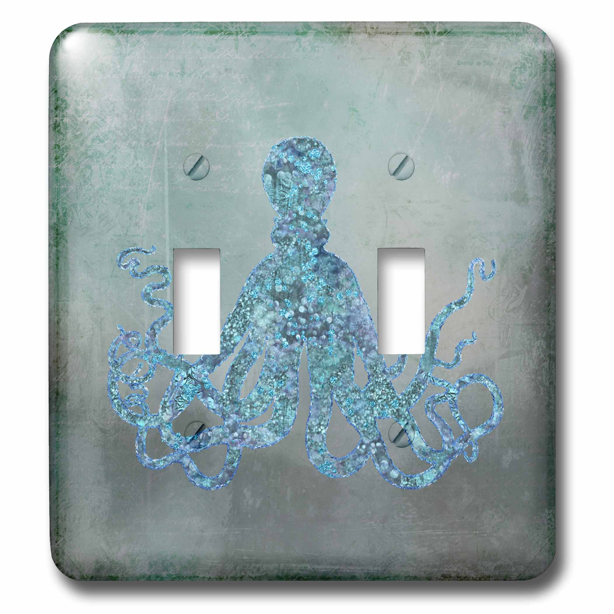 3dRose Andrea Haase Animals Illustration - Turquoise Glamorous Octopus Mixed Media Art - Light Switch Covers - double toggle switch (lsp_282454_2)