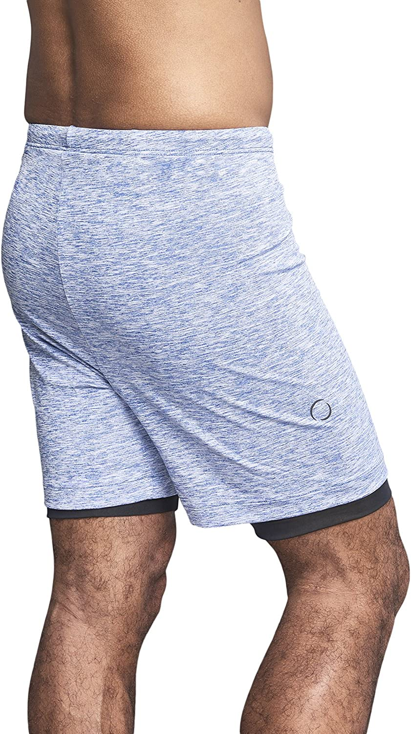 Pilates Small OHMME Clothing Two Dogs Men/'s Double Layer 2 in 1 Yoga Shorts Soft and Stretchy Yoga Pants Blue Short Pant; Comfortable and Loungewear Perfect for Yoga