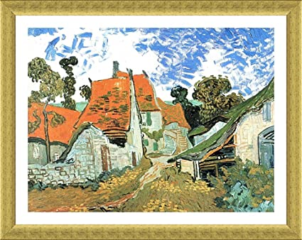 Alonline Art - Village Street In Auvers Vincent Van Gogh Gold FRAMED ...