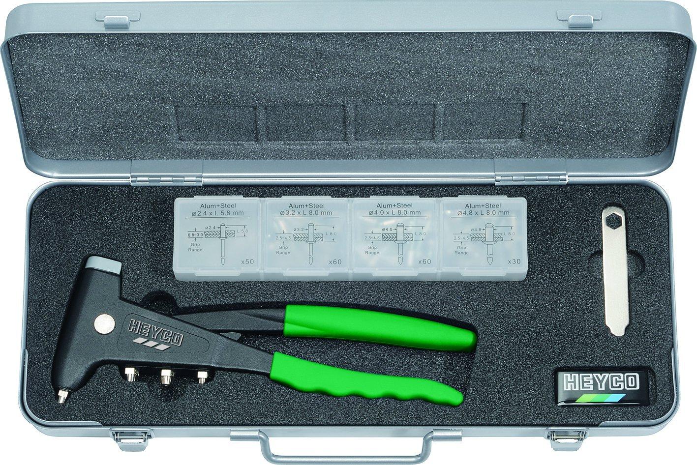 Heytec Heyco 01262000100 Blindnietzangensatz in Metallkasten