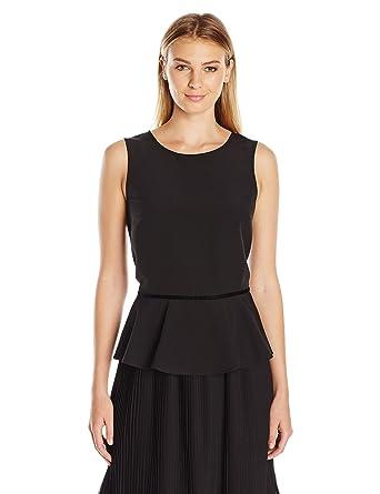 6666150f9a04a Amazon.com  Lark   Ro Women s Sleeveless Velvet Trim Peplum Top  Clothing