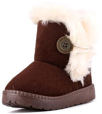 LONSOEN Toddler Girls Boots Fur Lined Winter Boots Shoes(Toddler/Little Kid)