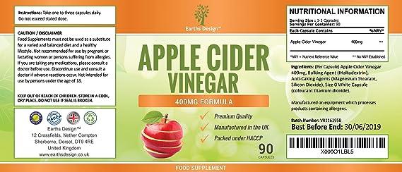 Vinagre de Sidra de Manzana - 400 mg - Apple Cider Vinegar - 90 Cápsulas (Suministro Para 3 Meses) de Earths Design: Amazon.es: Salud y cuidado personal
