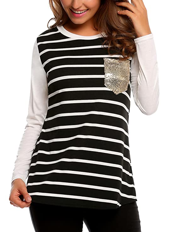 Easther Women Long Sleeve Striped Crew Neck Shirt Blouse Tops With Pocket For Leggings Medium