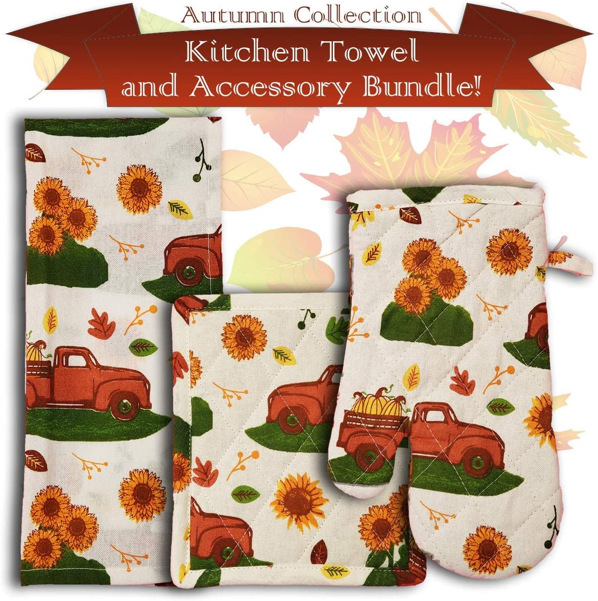 Retro Red Truck with Sunflowers Kitchen Towel and Accessory Set, Autumn Collection, Bundle Includes 2 Kitchen Towels, 1 Oven Mitt, and 1 Pot Holder All With Matching Autumn Theme