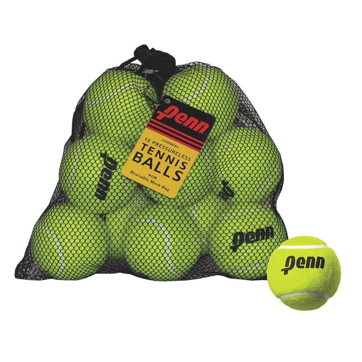 Penn Pressureless Tennis Balls, 12 Ball Mesh Bag Head 521812