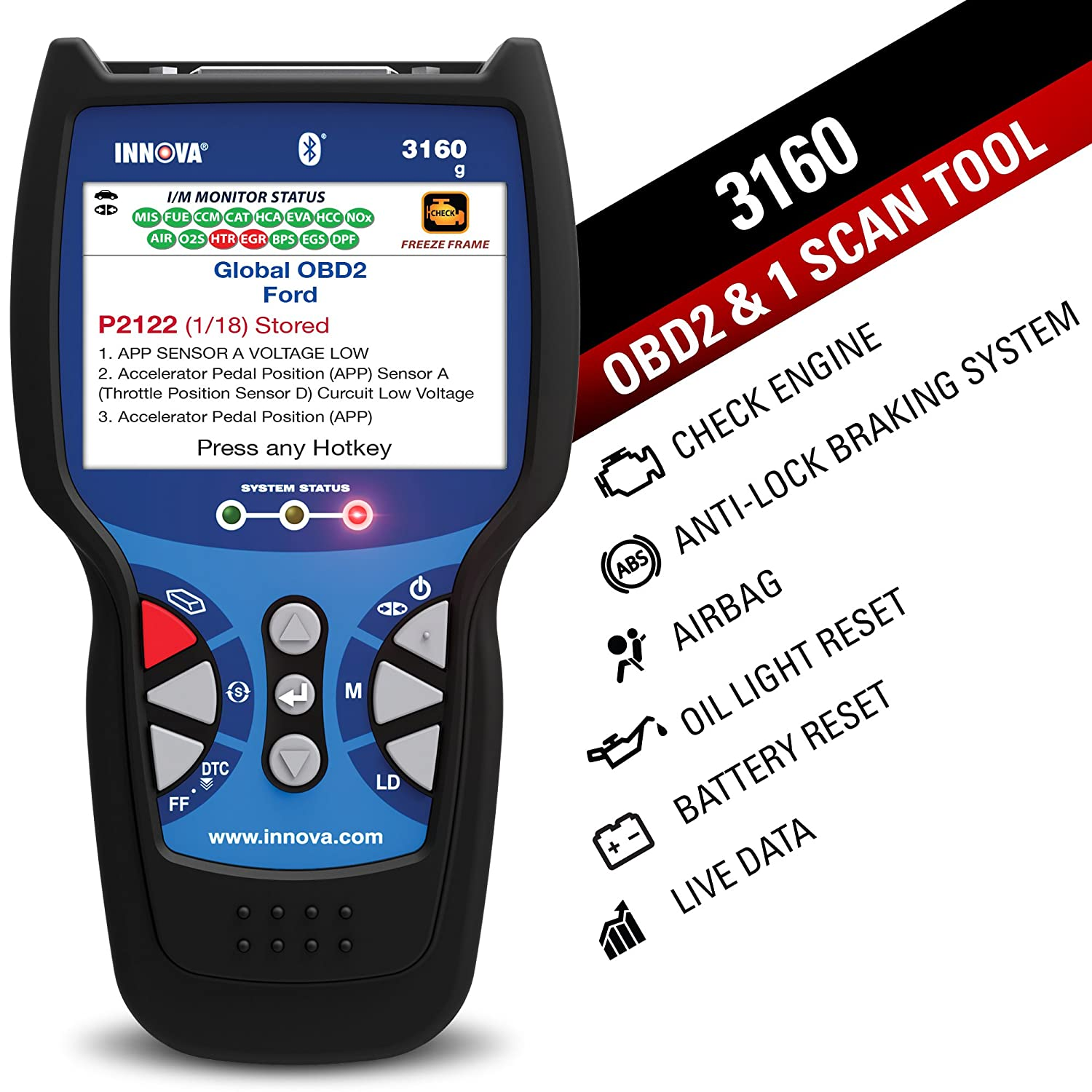 """Amazon.com: Innova 3160g Code Reader/Scan Tool with 3.5"""" Display, ABS, SRS,  Bluetooth, and Live Data for OBD2 Vehicles: Automotive"""