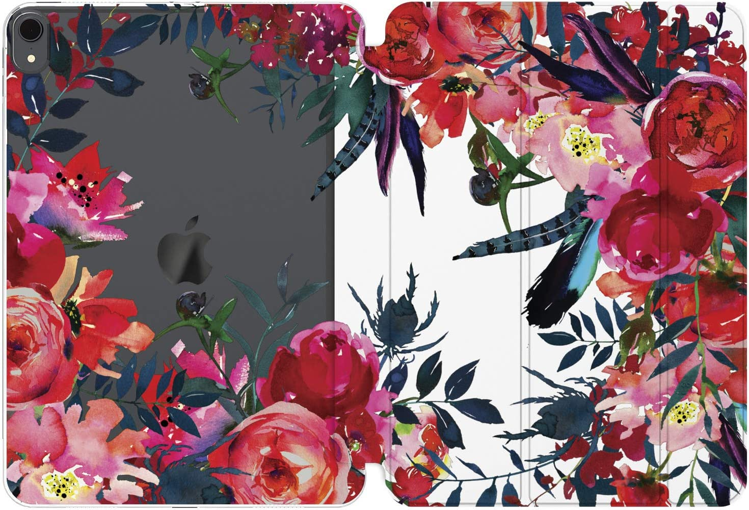 Cavka Case for Apple iPad 10.2 8th Gen 12.9 Pro 11 10.5 9.7 Air 3 Mini 5 4 3 2 1 2019/18 Red Leaves Beautiful Flower Peony Girl Bright Blossom Smart Cover Auto Wake Sleep Slim Design Floral Rose