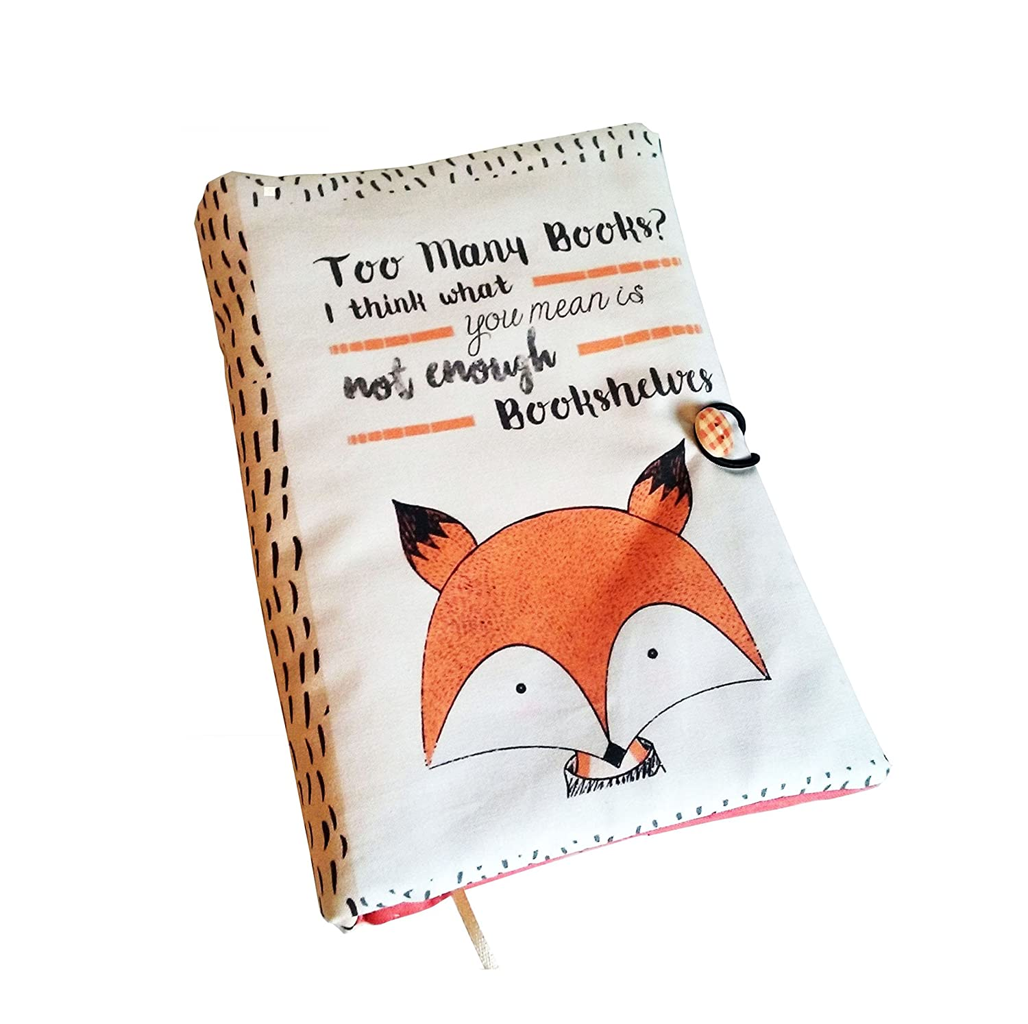 Book Cover Fox Handmade, Book Cover, Just one more chapter, Fabric, Notebook Cover, book lovers, UK Seller, Accessories, Fabric book cover