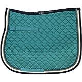 Usg Tapis de selle matelassé à passepoil double, complet, Lac Bleu/écru/bleu marine avec bordure, bleu marine/vert clair