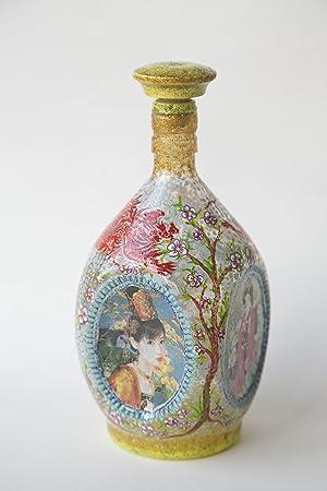 Hecho a mano botella Geisha - decoupage original decoración de la mesa Ideas de regalo: Amazon.es: Hogar