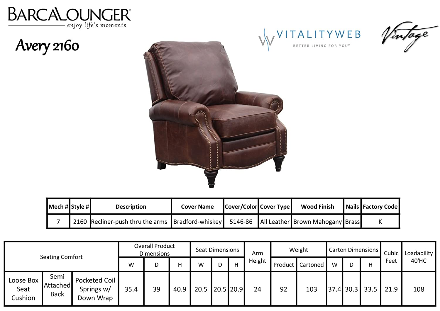 Barcalounger Avery 7-2160 Recliner Chair – Bradford Whiskey 5146-86 All Leather