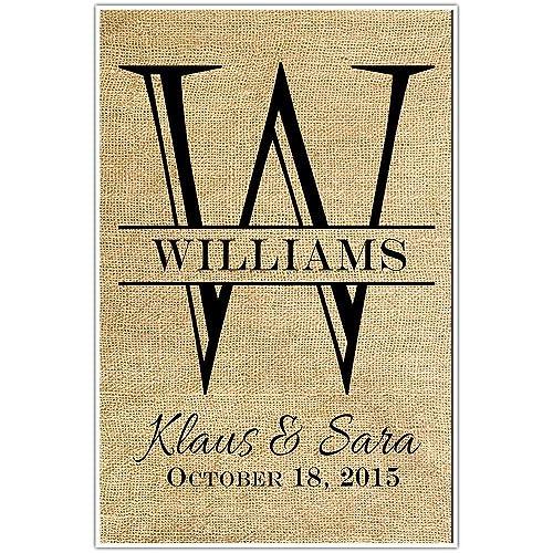 Amazon.com: Personalized Monogram Wedding Anniversary Gift Wall Art ...