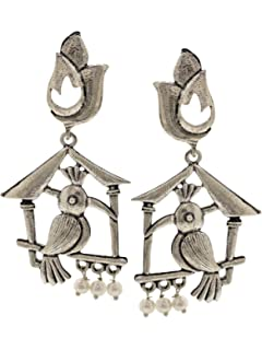 Efulgenz Boho Vintage Antique Ethnic Gypsy Tribal Indian Oxidized Silver Owl Dangle Earrings Jewelry