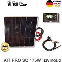 VIASOLAR Kit 175W Pro 12V Panel Solar Cuadrado monocristalino células alemanas
