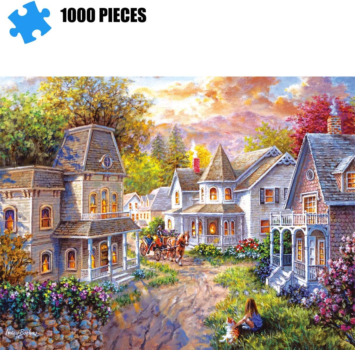 Educational Intellectual Decompressing Toy Fun Family Game for Kids Adults 820 House in The Forest Puzzles for Adults 1000 Piece Jigsaw Puzzle