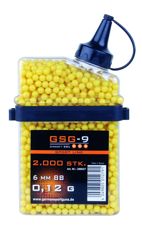GSG calidad de 0,12 g de HFC airsoft bb airsoft munición pieza 2.000 cal. 6 mm, amarillo, 200.037 200037