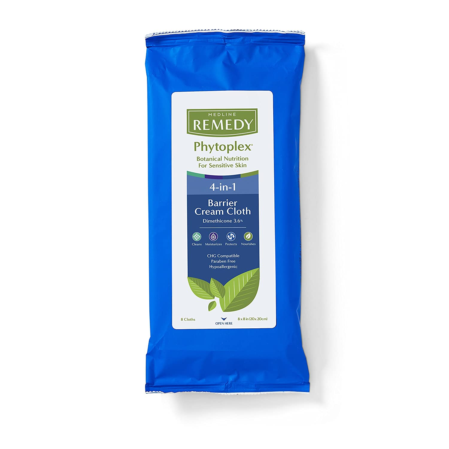 Medline MSC092508 Remedy Phytoplex 4-in-1 Barrier Cream Cloths with Dimethicone (Pack of 256)